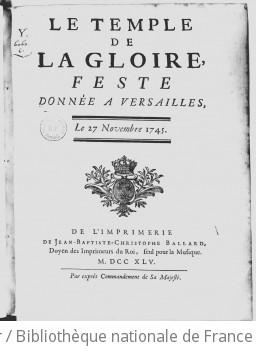 LE TEMPLE DE LA GLOIRE (Version de 1745) - Première édition (livret) - 1745