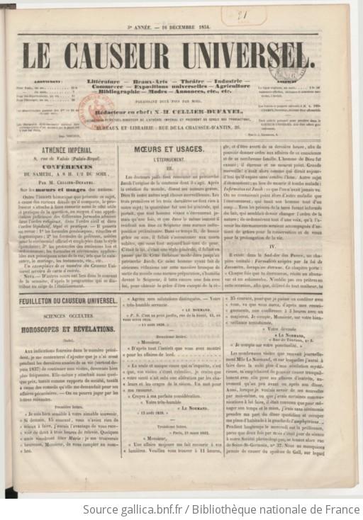 Le Causeur Universel Journal De Littrature Beaux Arts Thtre Industrie Commerce Expositions Universelles Agriculture Bibliographie Modes