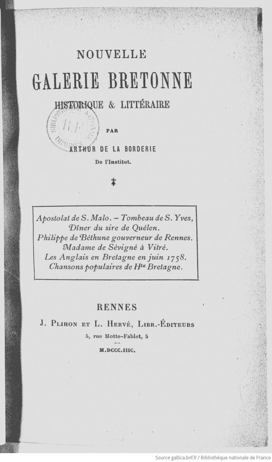 Nouvelle galerie bretonne historique et littéraire / par Arthur de La Borderie | La Borderie Arthur Le Moyne de