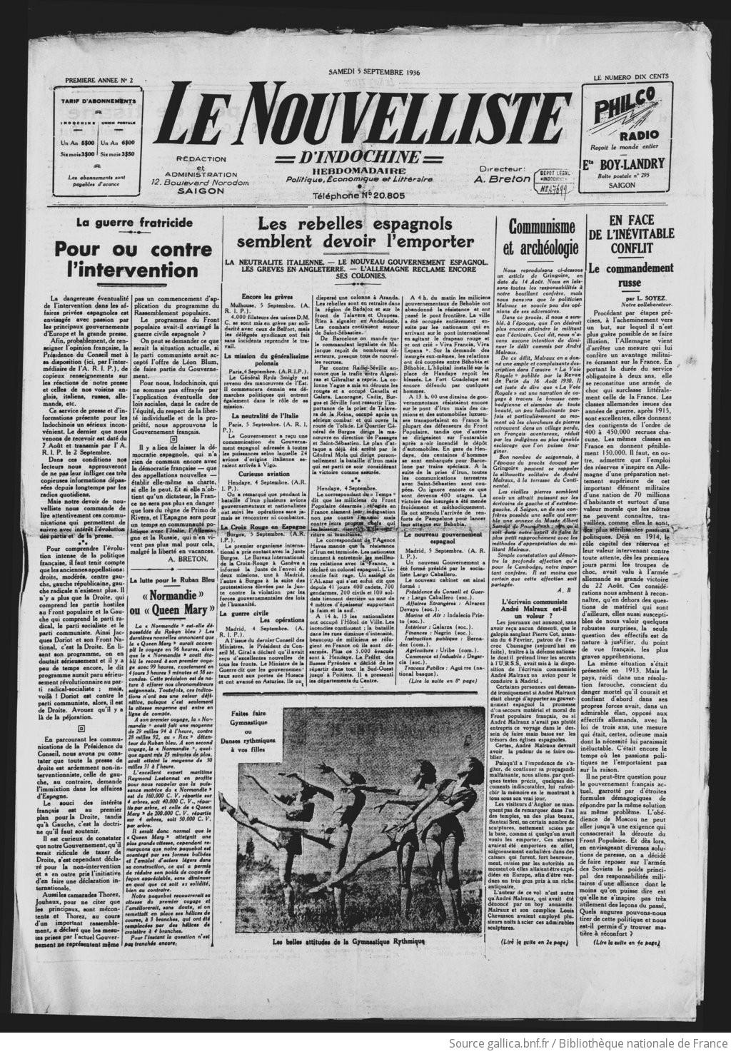 Le Nouvelliste d'Indochine. - Hebd. pol. économ. littéraire  1936