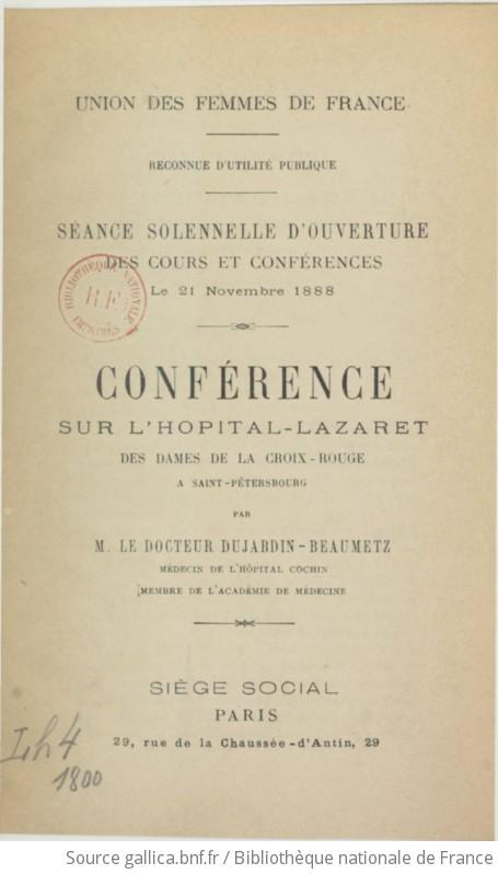 Union des femmes de France. Reconnue d'utilité publique. Séance solennelle d'ouverture - Georges Dujardin-Beaumetz