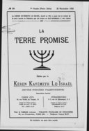 La Terre promise : bulletin officiel du Keren Kayemeth Leisraël (oeuvre foncière palestinienne)  Fonds national juif. 1925-1928