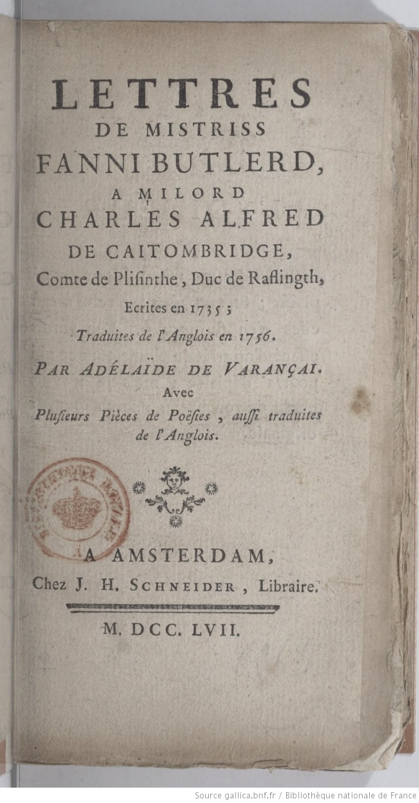 Lettres de Fanny Butlerd (French Edition)