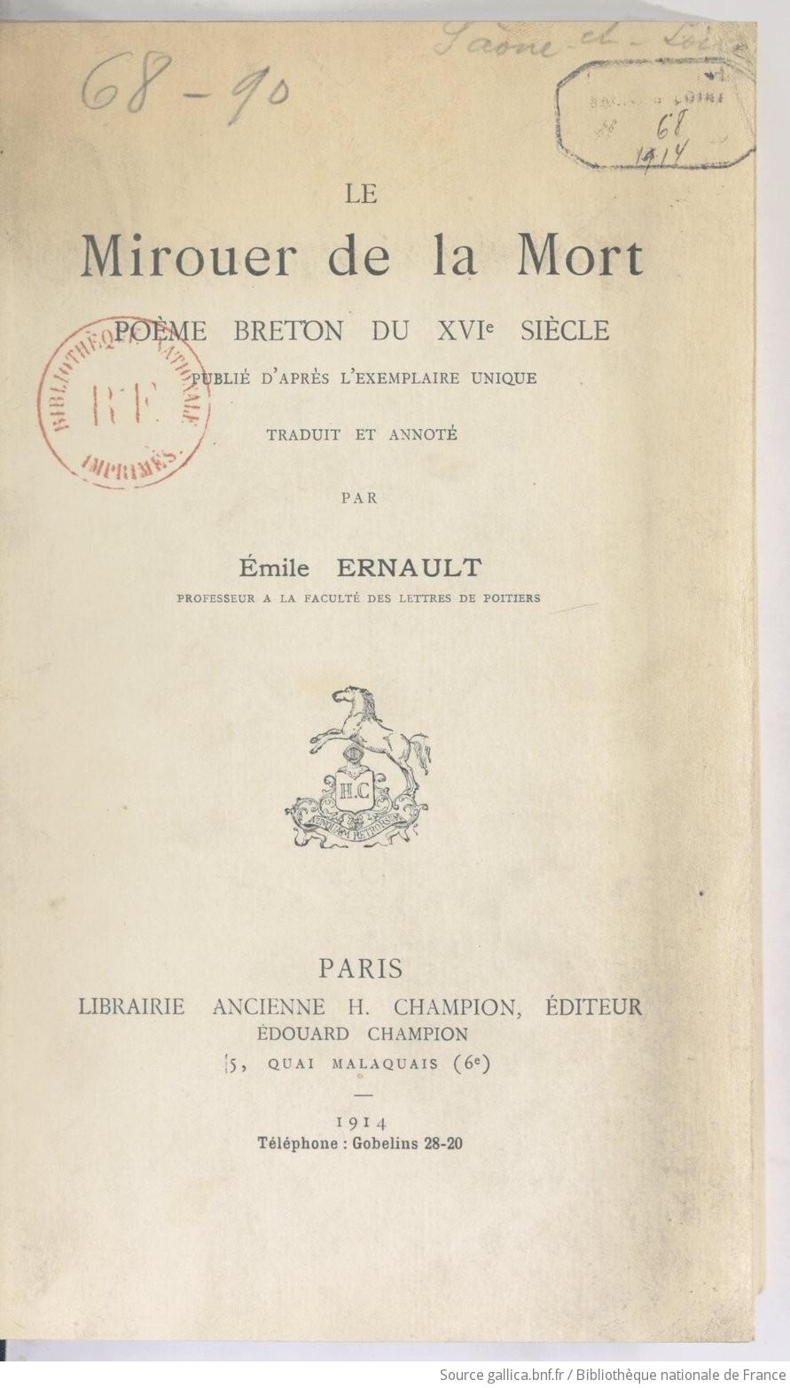 Le Mirouer De La Mort Poème Breton Du Xvie Siècle Publié D