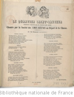 Le quartier Saint-Sauveur, chanson nouvelle en patois de Lille chantée par la Société des Amis-Réunis au départ de la chasse. (Signé : Ch. Decottignies.)