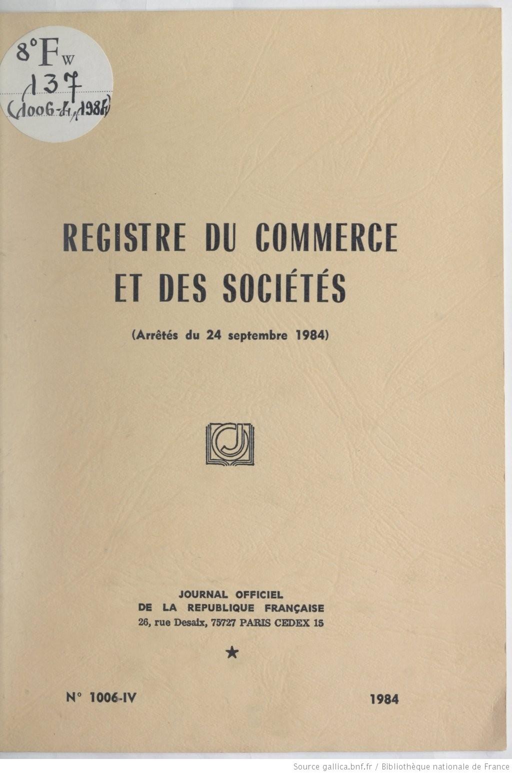 Registre Du Commerce