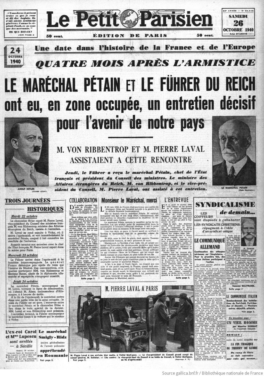 Le Petit Parisien : journal quotidien du soir   1940-10-26   Gallica