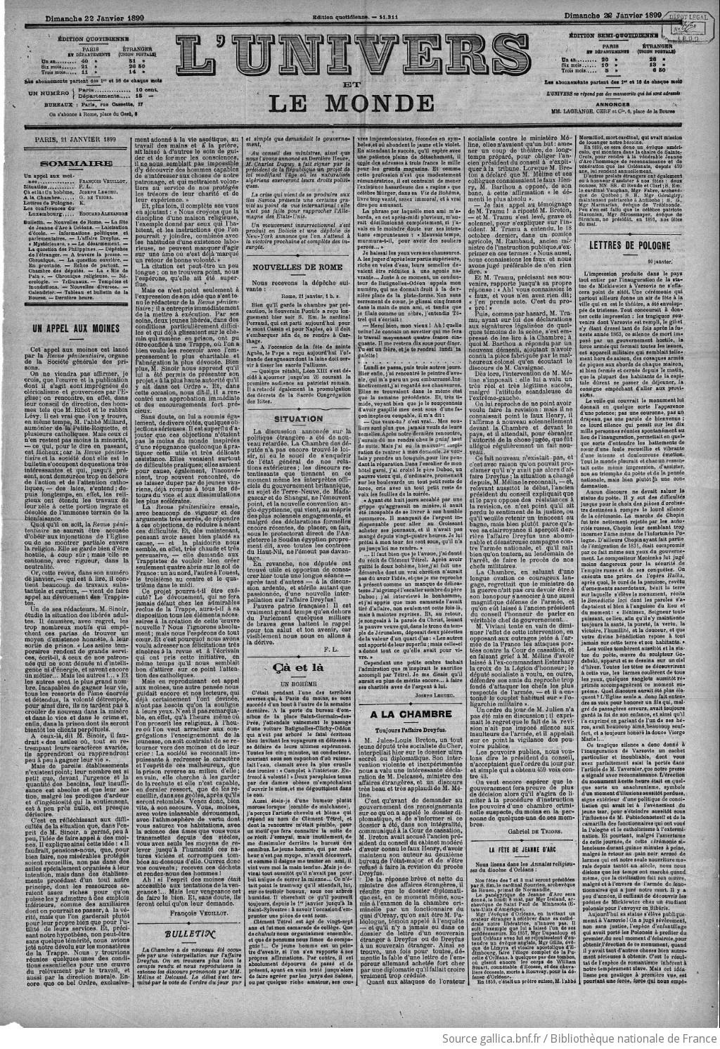l'univers | 1899-01-22 | gallica