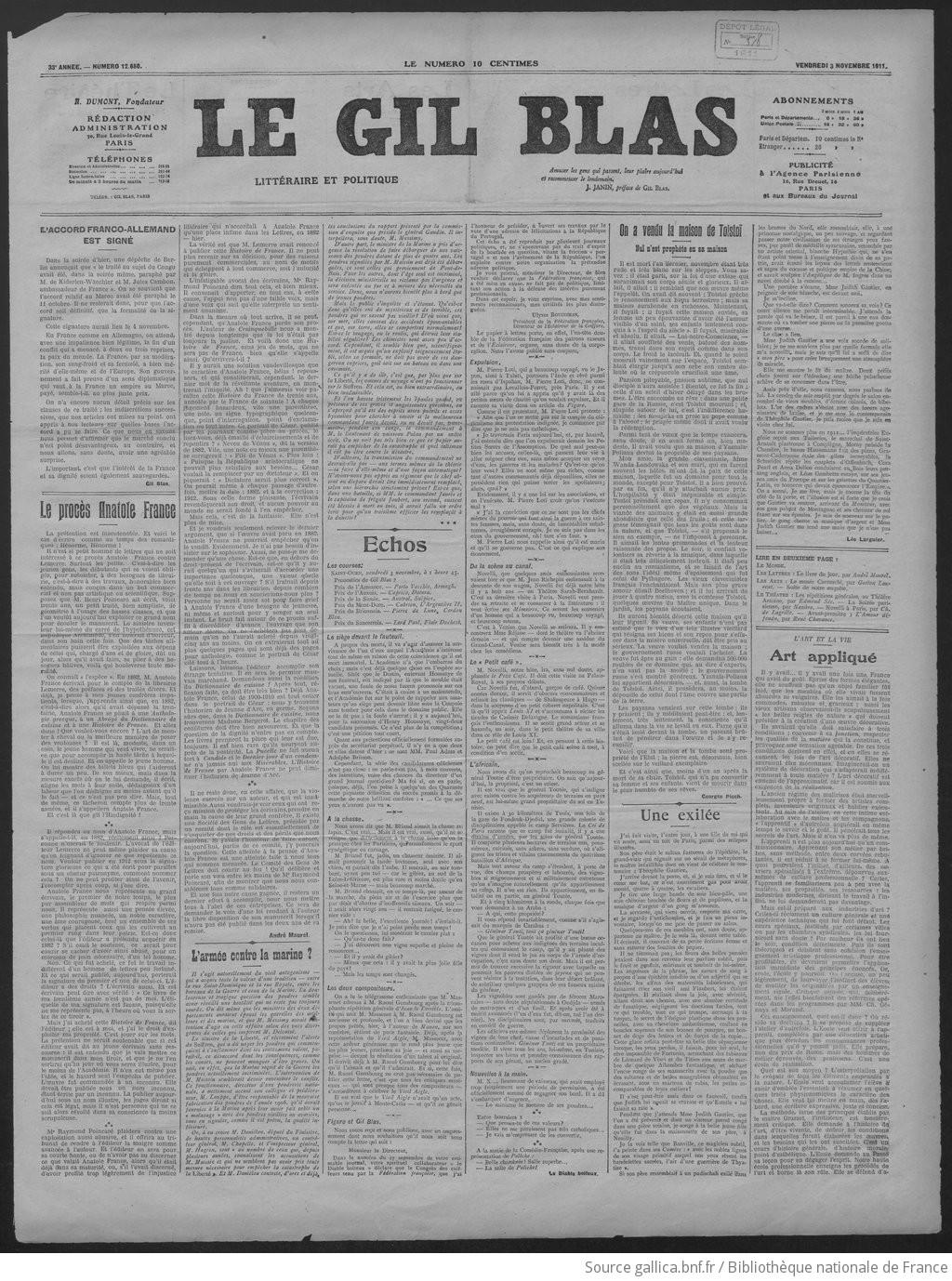 Gil Blas Dir A Dumont 1911 11 03 Gallica