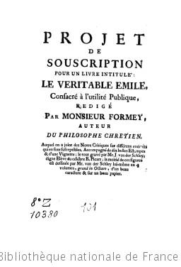 Projet de souscription pour un livre intitulé Le véritable Émile, consacré à l