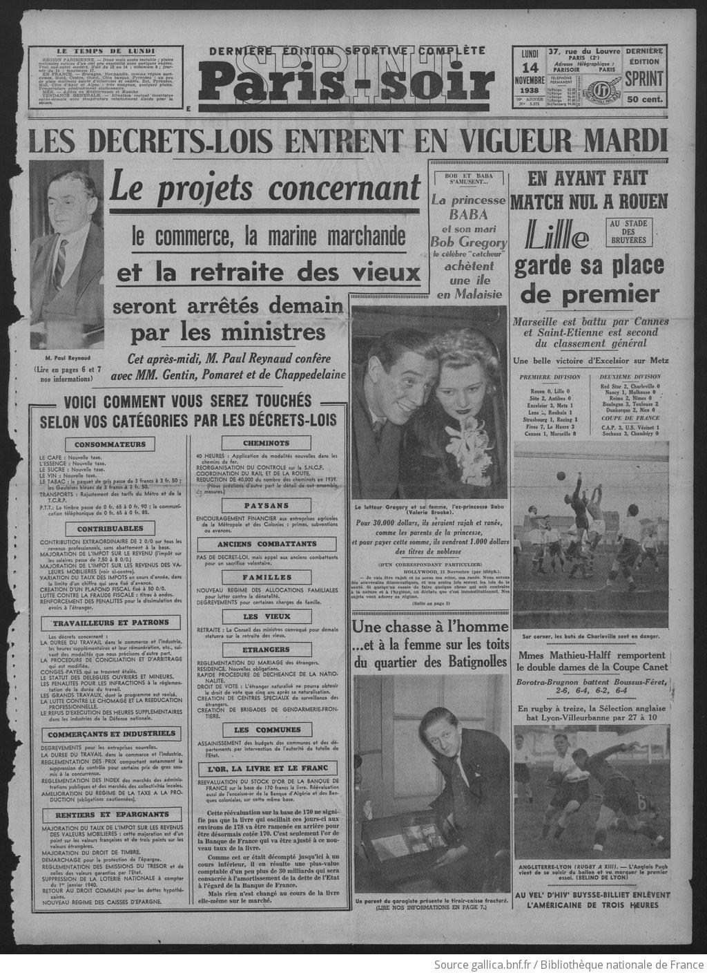 """Résultat de recherche d'images pour """"40 heures Paul Reynaud 1938 Images"""""""