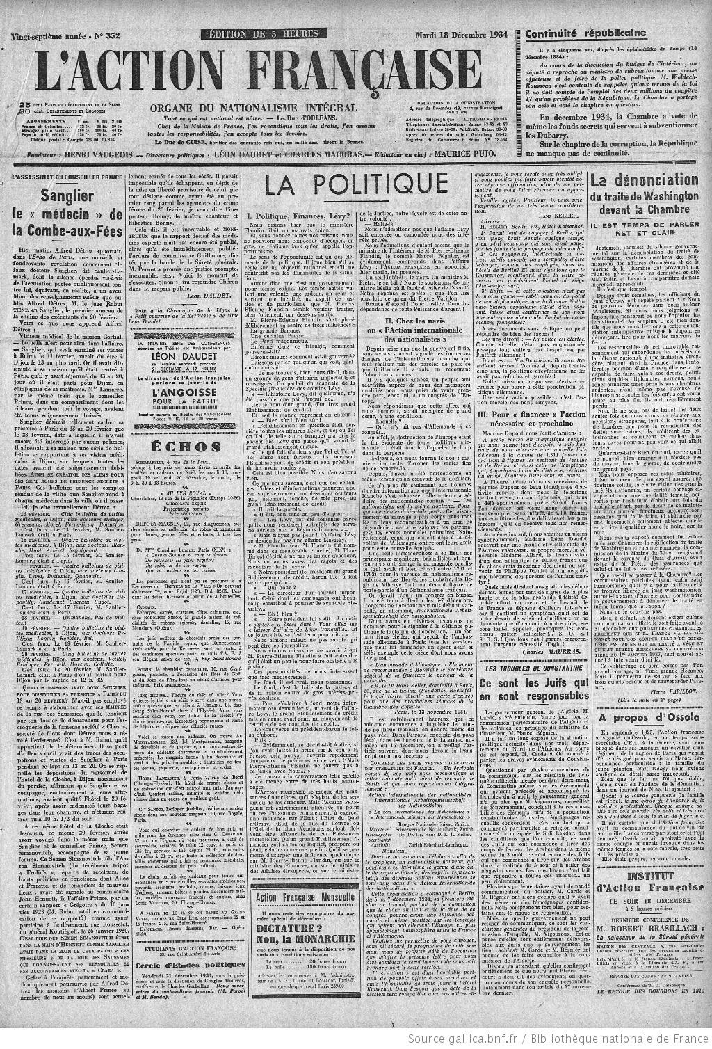 LAction Franaise Organe Du Nationalisme Intgral Directeur Politique Henri Vaugeois Rdacteur En Chef Lon Daudet