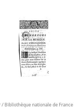 SUITE DES ERREURS SUR LA MUSIQUE DANS L'ENCYCLOPÉDIE - 1756