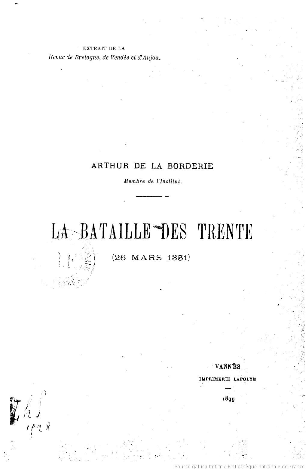 Bataille des Trente (26 mars 1351) | La Borderie Arthur Le Moyne de