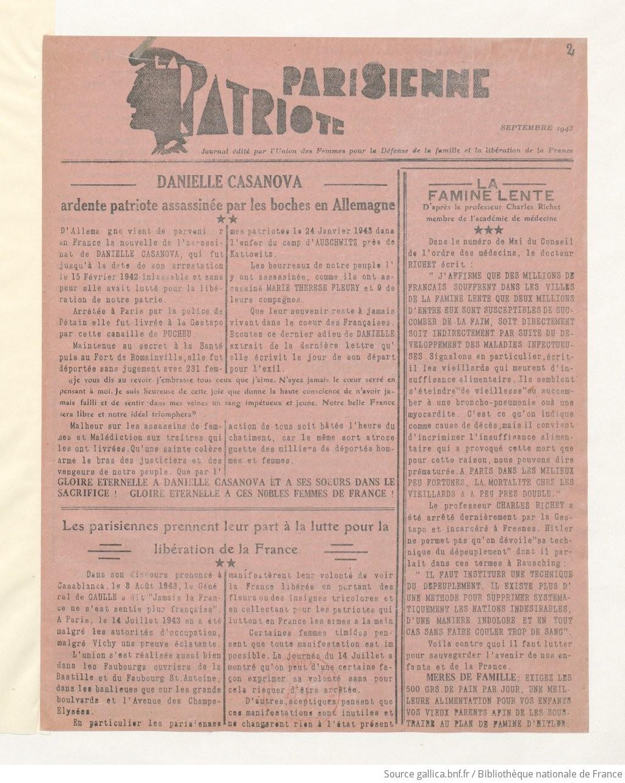 La patriote parisienne journal dit par l 39 union des femmes pour la d f - La parisienne journal ...