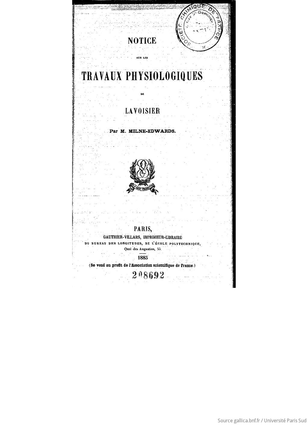 Notice sur les travaux physiologiques de Lavoisier
