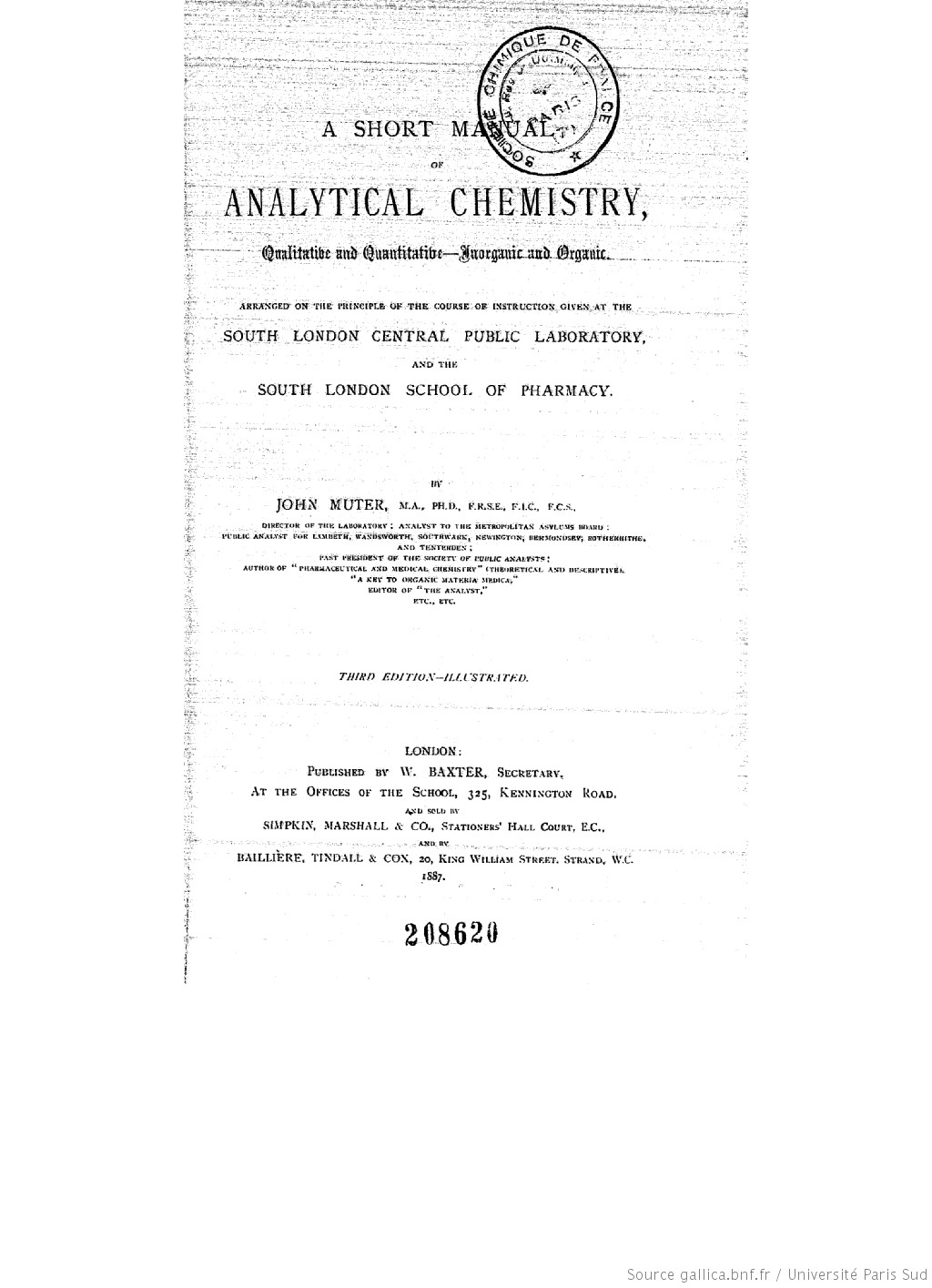 A short manual of analytical chemistry : qualitative and quantitative-anorganic and organic