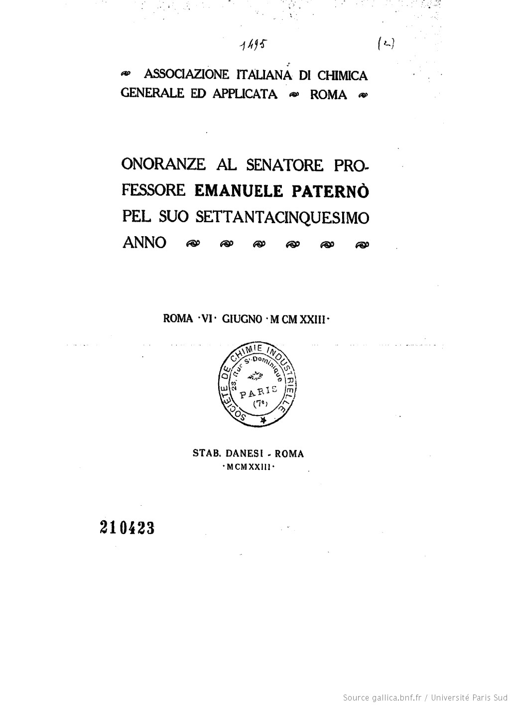 Onoranze al senatore professore Emanuele Paternò pel suo settantacinquesimo anno