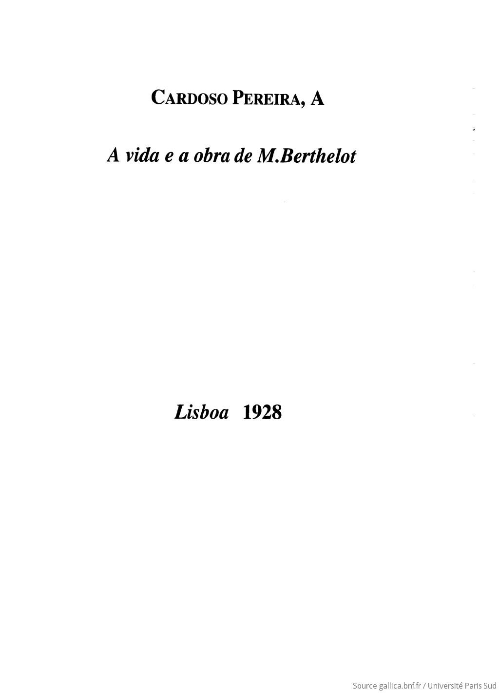 A vida e a obra de M. Berthelot