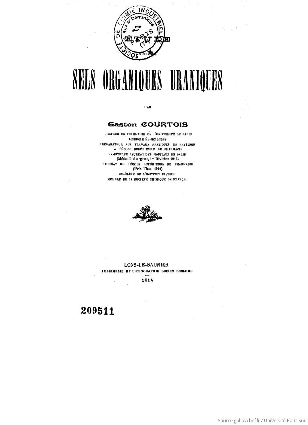 Etude sur les sels organiques uraniques