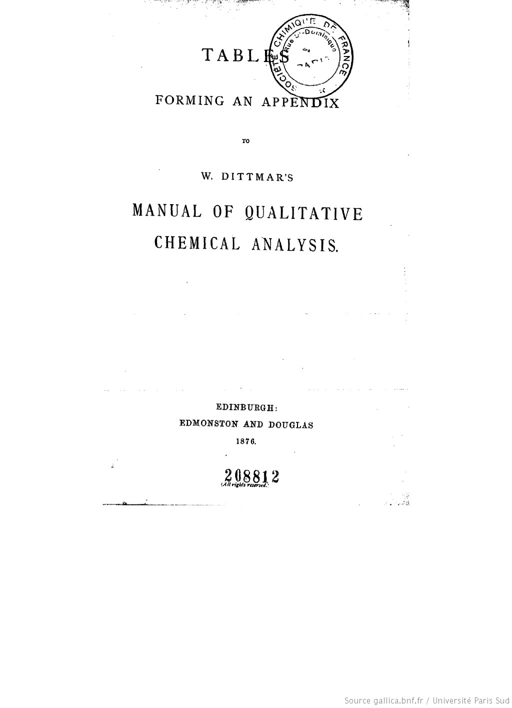 Tables forming an appendix to W. Dittmar's Manual of qualitative chemical analysis