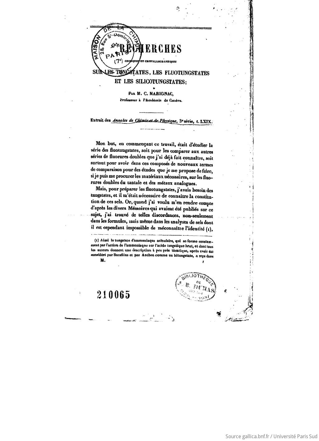 Recherches chimiques et cristallographiques sur les tungstates, les fluotungstates et les silicotungstates