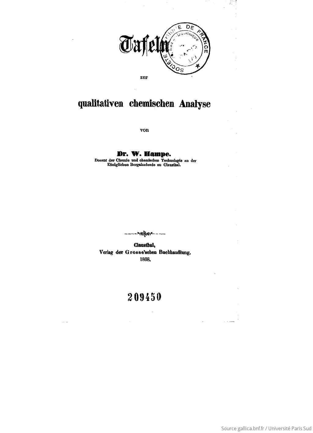 Tafeln zur qualitativen chemischen Analyse