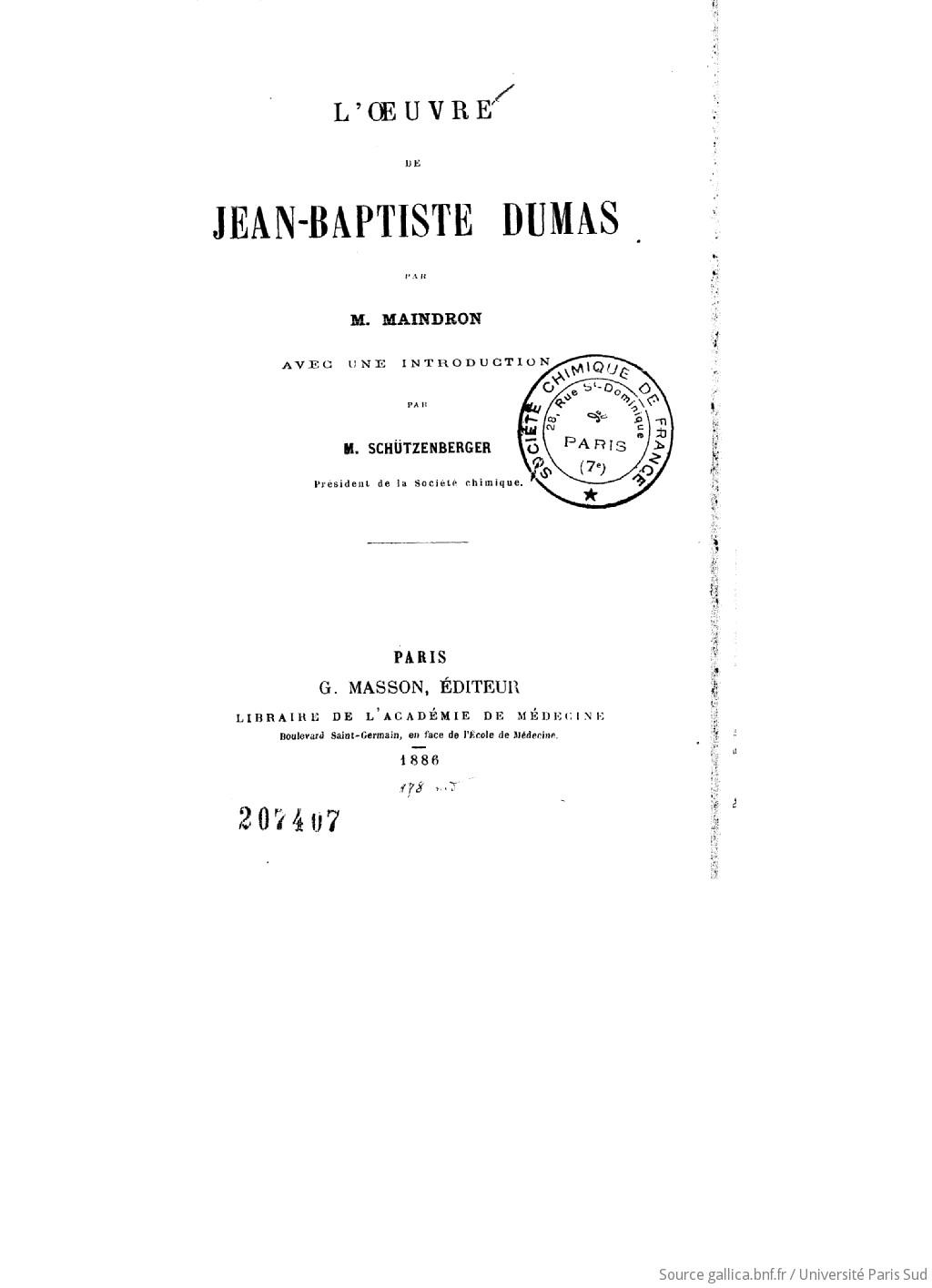 L'oeuvre de Jean-Baptiste Dumas