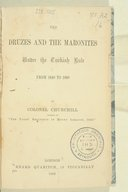 The Druzes and the Maronites under the Turkish rule  Ch. Churchill. 1862