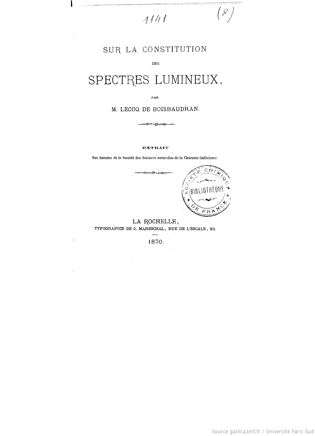 Sur la constitution des spectres lumineux