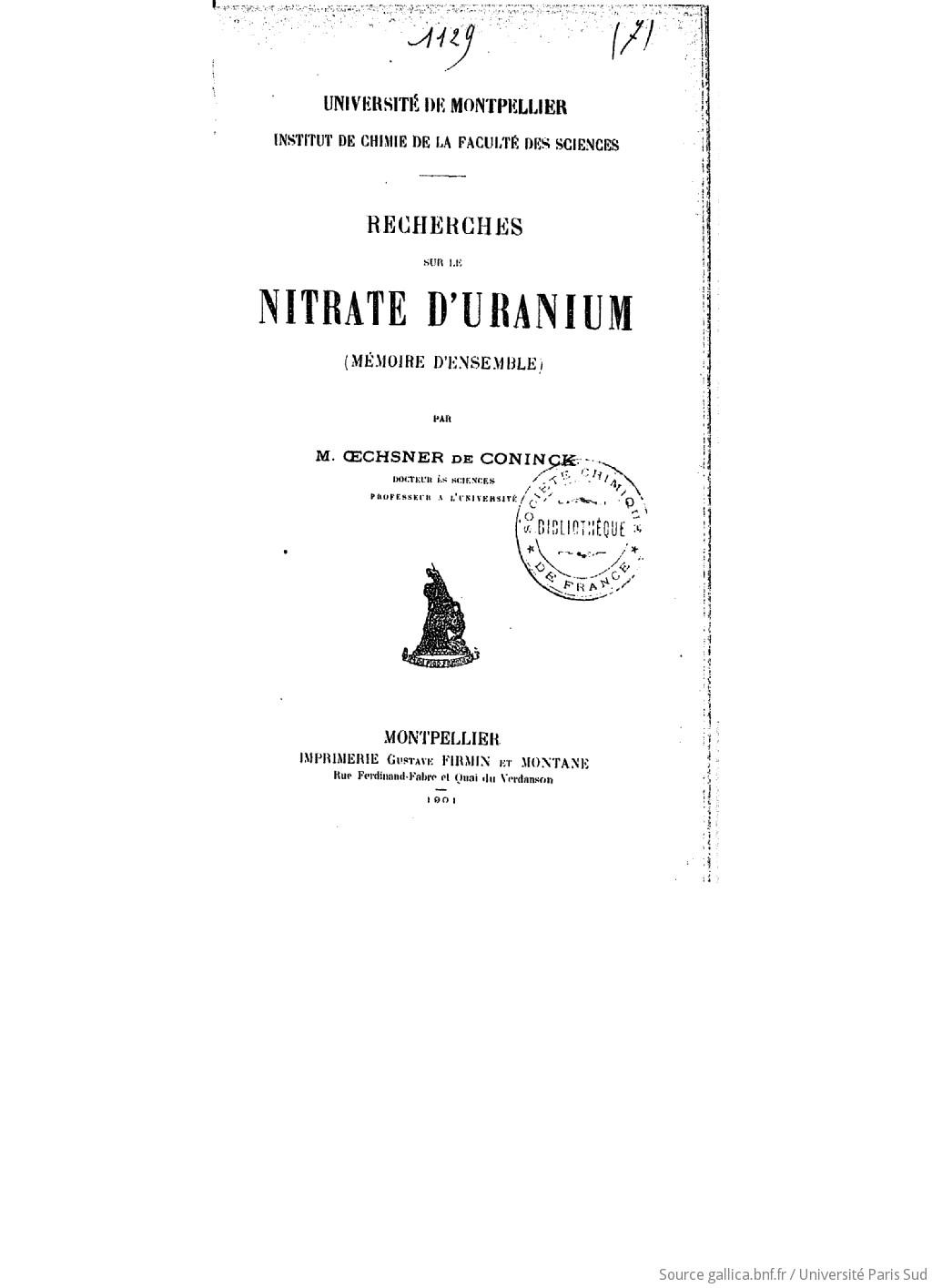 Recherches sur le nitrate d'uranium (mémoire d'ensemble)