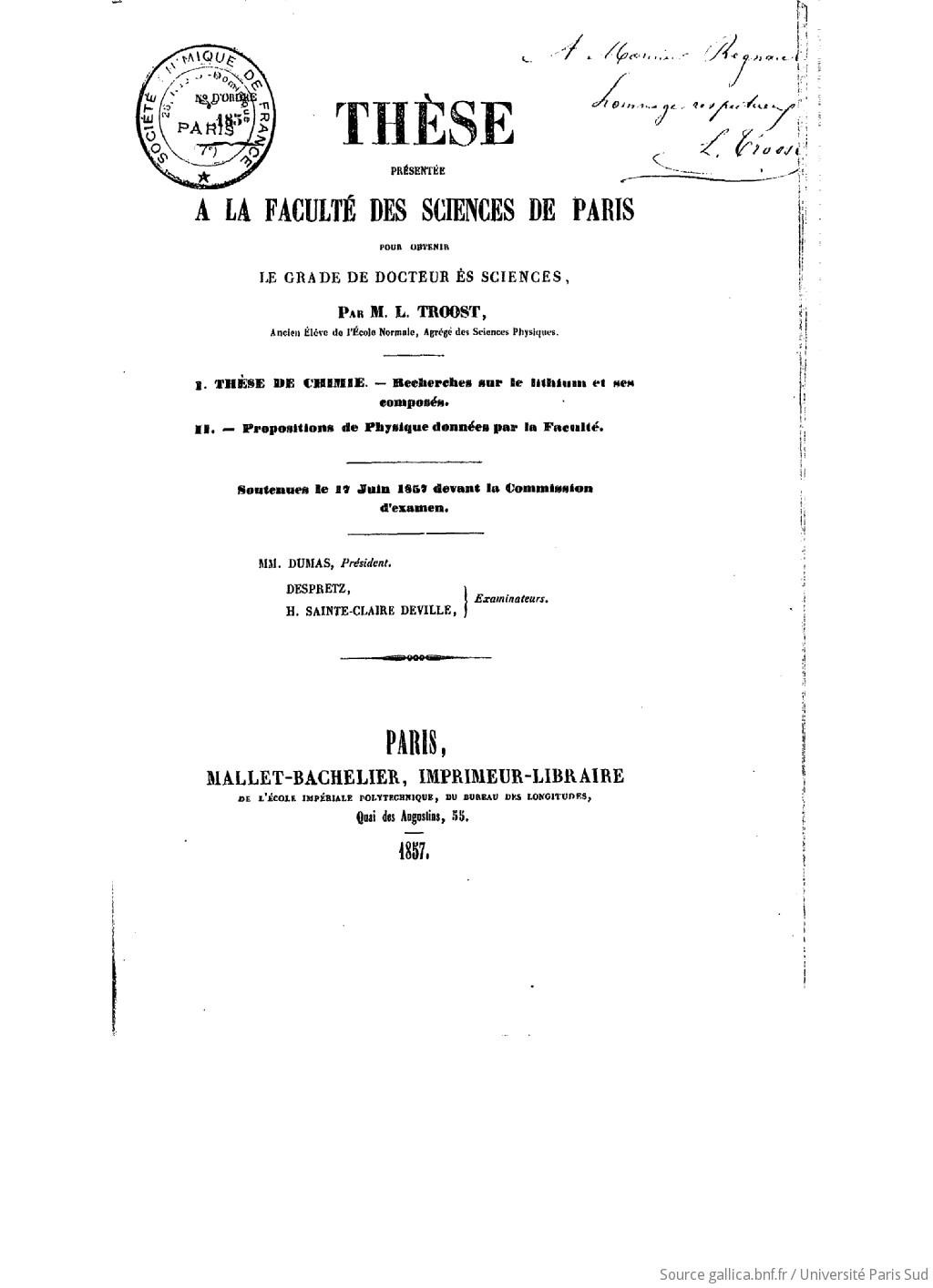 Recherches sur le lithium et ses composés […] thèses présentées à la Faculté des sciences de Paris