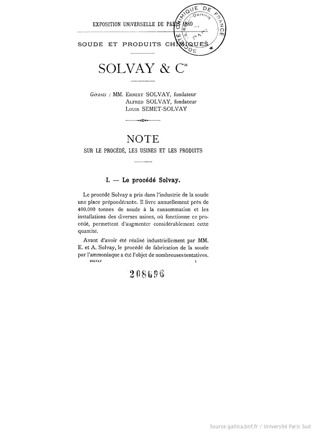 Soude et produits chimiques : exposition universelle tenue à Paris en 1889
