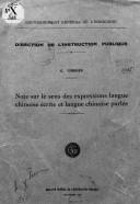 Note sur le sens des expressions langue chinoise écrite et langue chinoise parlée <br> G. Codier. 1933