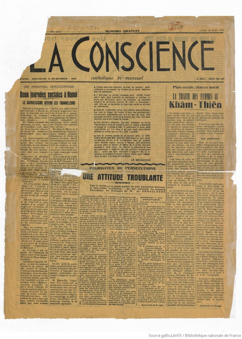 La Conscience. Catholique bi-mensuel   1938