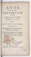 Avis touchant l'Entretien d'un philosophe chrétien avec un philosophe chinois, composé par le P. Malebranche ; pour servir de réponse à la critique de cet Entretien <br> 1708