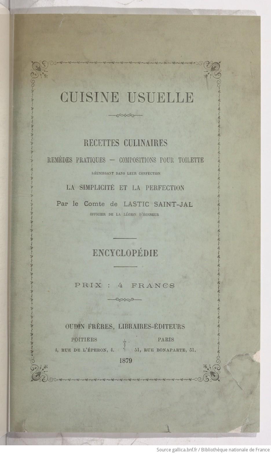 Ouvrages anciens :  Les livres de cuisine  F9