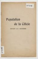 Population de la Cilicie avant la guerre  Boghos Nubar. [192.]