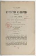 Remarque sur la destruction des plantes indigènes au Brésil et sur le moyen de les en préserver  L. Netto. 1865