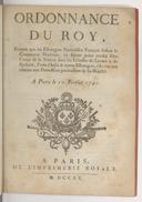 Ordonnance portant que les estrangers naturalisez françois faisant le commerce maritime ne seront point censez faire corps de la nation dans les Echelles de Levant et de Barbarie [...] s'ils n'en ont obtenu une permission de S. M.  Louis XV. 1720