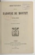 Bildung aus Gallica über Alexandrine Prévost de La Boutetière de Saint-Mars de Fisson Du Montet (baronne, 1785-1866)