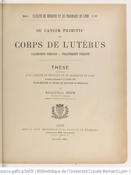 Du Cancer primitif du corps de l'utérus Diagnostic précoce ...