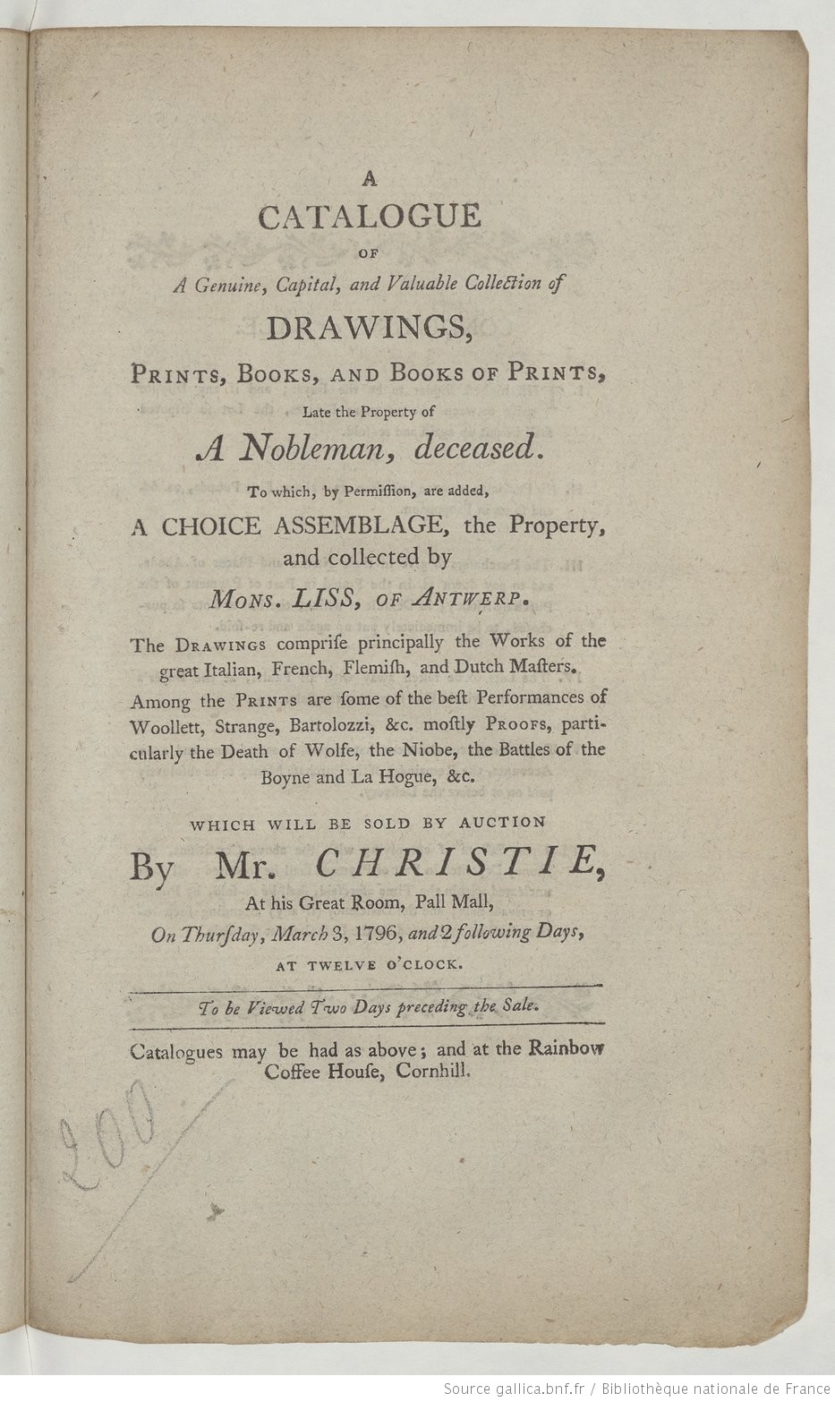 A catalogue of a genuine, capital, and valuable collection of