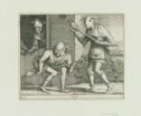 Image from Gallica about Trois fous de carnaval jouant avec leur marotte