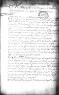 Mémoire de la Marquise de Vaudreuil à Monseigneur le comte de Pontchartrain1700-1720