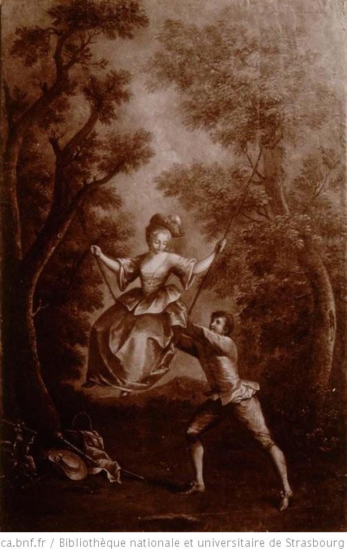 Jeune homme poussant une jeune fille sur une balançoire. Panneau peint (TR) - 1