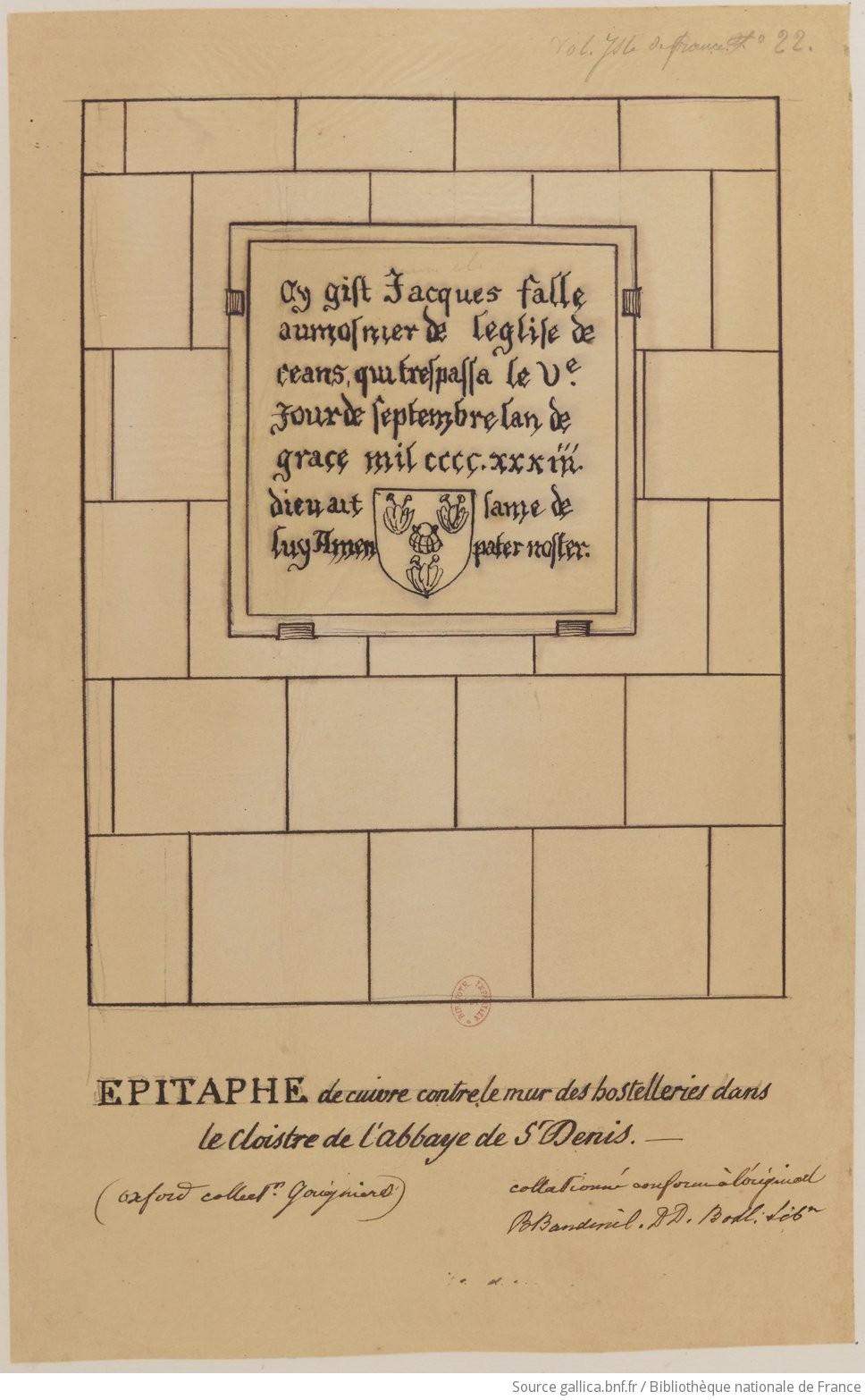 Dessins des épitaphes ornant les murs du cloitre médiéval F1