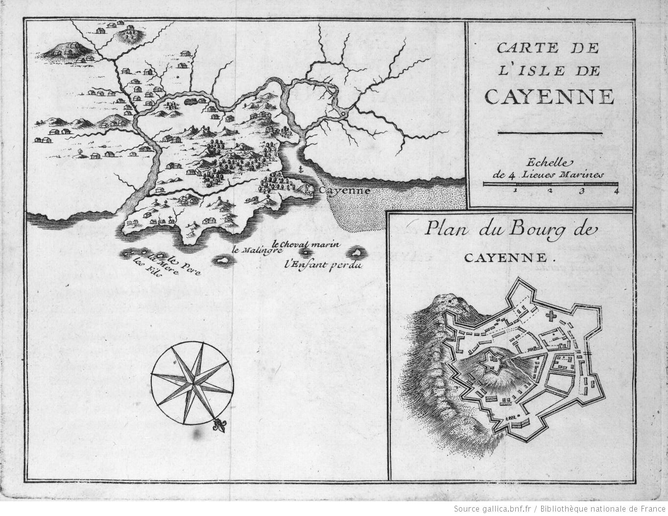 Cette carte de l'isle de Cayenne issue du même ouvrage est plus classique, une copie d'autres cartes antérieures ?