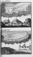 Fig.XXVII : Phénomène obbservé lors du passage de la comète de l'an 40. Fig.XXVIII : Phénomène obbservé lors du passage de la comète de l'an 62. [Cote :2502A]