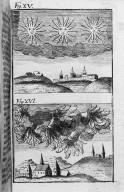 Fig.XV : Phénomène obbservé lors du passage de la comète de l'an 171 avant J.C . Fig.XVI : Phénomène obbservé lors du passage de la comète de l'an 163 avant J.C. [Cote :2496A]